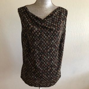 Ninety Woman Sleeveless Patterned Cowl Neck Top